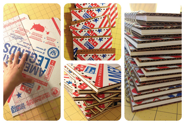 Binders made with recylcled Domino's Pizza Boxes