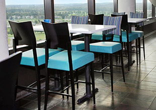 MTS Seating's Poize barstools in the Aerie Restaurant at Grand Traverse Resort and Spa in Traverse City, Michigan.