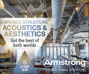 Armstrong Ceiling and Wall Solutions. Exposed structure acoustics and aesthetics. Get the best of both worlds. Learn how.