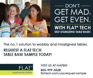 Don't get mad. Get even. With FLAT Tech self-stabilizing table base. Request a free sample.