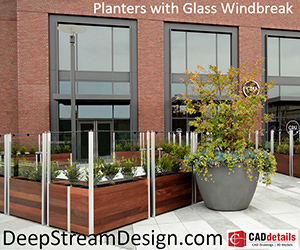 DeepStreamDesign.com, Planters with Glass Windbreak. Find out more.