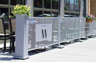 Removable Outdoor Dining Partitions from Selectspace Partitions.