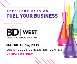 BD West. A Boutique Design Trade Fair. March 13-14, 2019. Los Angeles Convention Center. Register Today.
