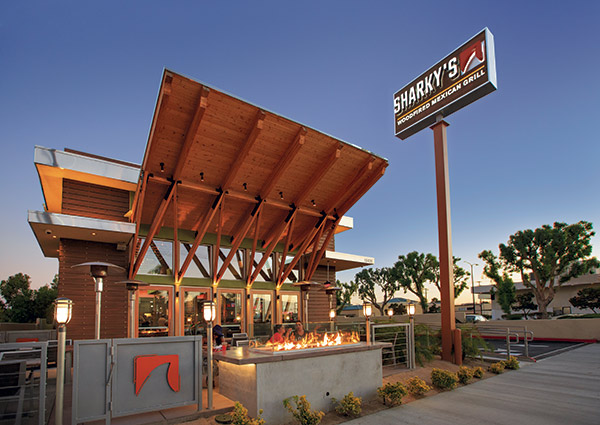 Sharky's Exterior with fire pit
