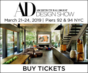 Architectural Digest Design Show. March 21-24, 2019. Piers 92 and 94, New York City. Buy Tickets.