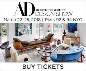 Architectural Digest Design Show. March 22-25, 2018. Piers 92 and 94 New York City. Buy Tickets Now.